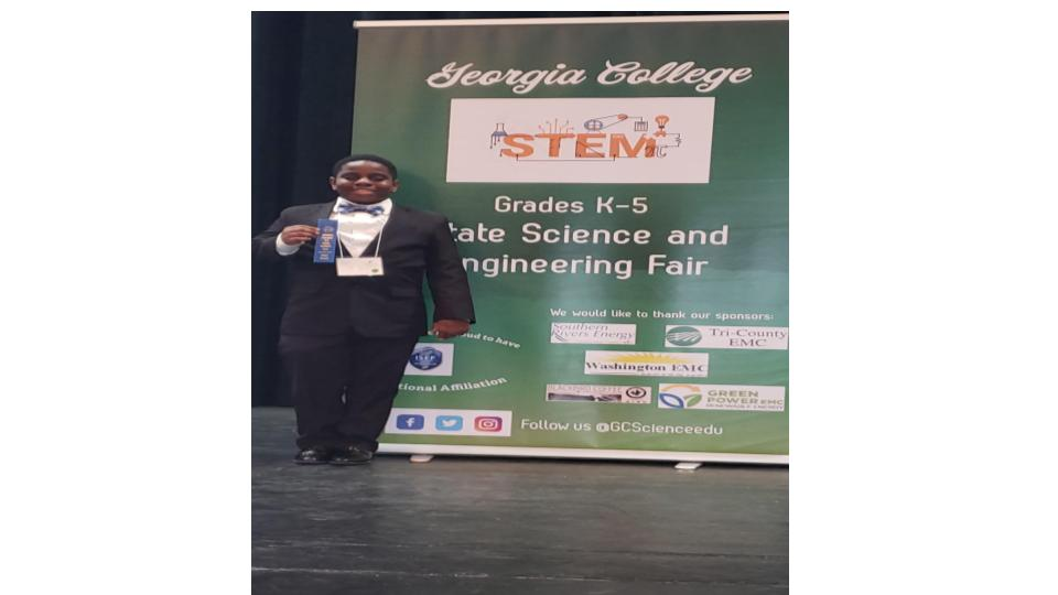 Our very own Aiden Egoruguwu-1st place State Science Fair Winner!